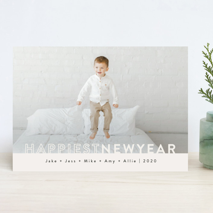 """The Happiest"" - New Year Photo Cards in Ivory by Kasia Labocki."