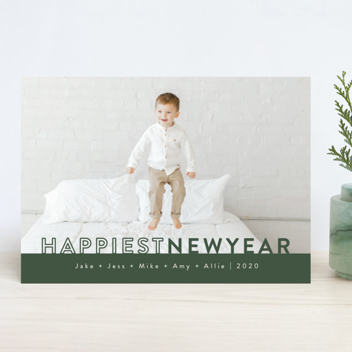 """The Happiest"" - New Year Photo Cards in Pine by Kasia Labocki."