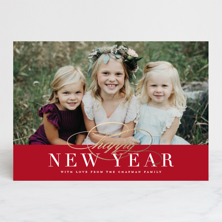 """""""Simple Elegance"""" - New Year Photo Cards in Cardinal by Jessica Williams."""