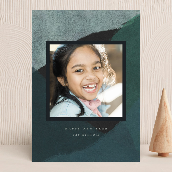 """""""Peaks and Valleys"""" - Modern New Year Photo Cards in Spruce by Calluna Fine Paper."""