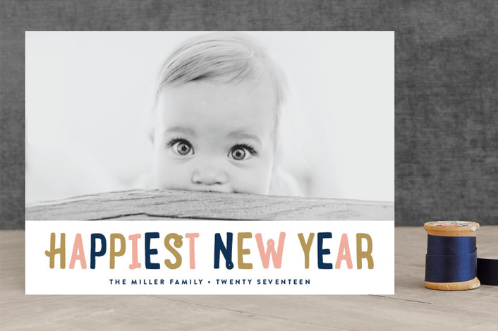 """Fun New Year"" - Modern New Year Photo Cards in Navy by Erica Krystek."