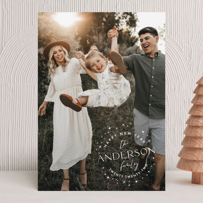 """""""Stardusted Name"""" - Bohemian New Year Photo Cards in Snow by Robin Ott."""