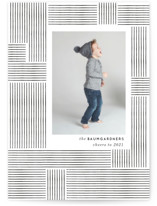 This is a black new year photo card by Baumbirdy called Lines with standard printing on smooth signature in standard.