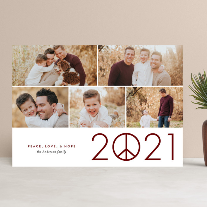 """Hope in 2021"" - New Year Photo Cards in Merlot by Jessica Ogden."