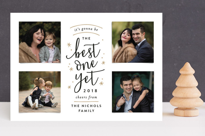 """Best One Yet"" - New Year Photo Cards in Golden by Hooray Creative."