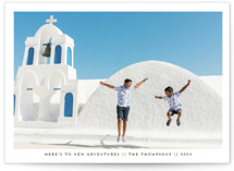 This is a black new year photo card by Ashlee Townsend called New Adventures New Year with standard printing on smooth signature in standard.