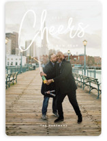 This is a white new year photo card by Guess What Design Studio called signature cheers with standard printing on smooth signature in standard.
