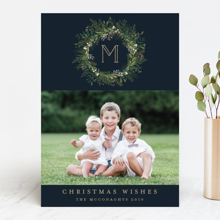"""""""Greenery Wreath"""" - New Year Photo Cards in Twilight by Susan Moyal."""