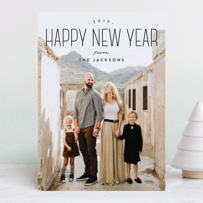 """Tallest New Year"" - New Year Photo Cards in Raven by Owl and Toad."