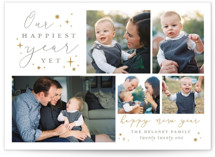 This is a brown new year photo card by Sarah Brown called Happiest Year Yet with standard printing on smooth signature in standard.