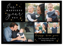 This is a black new year photo card by Sarah Brown called Happiest Year Yet with standard printing on smooth signature in standard.