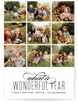 This is a black new year photo card by Kaydi Bishop called A Wonderful Year with standard printing on smooth signature in standard.