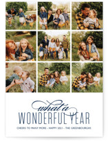 This is a blue new year photo card by Kaydi Bishop called A Wonderful Year with standard printing on smooth signature in standard.