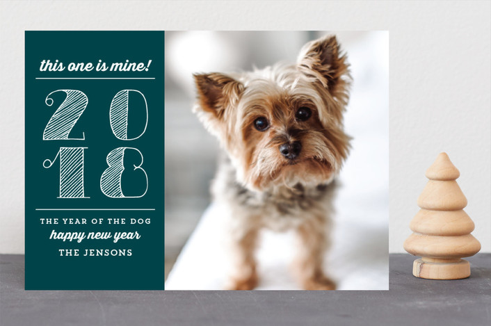 """""""Year of the Dog"""" - Funny New Year Photo Cards in Holly by Chris Griffith."""