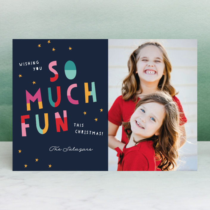 """""""Oh What Fun!"""" - Modern New Year Photo Cards in Midnight by Pixel and Hank."""