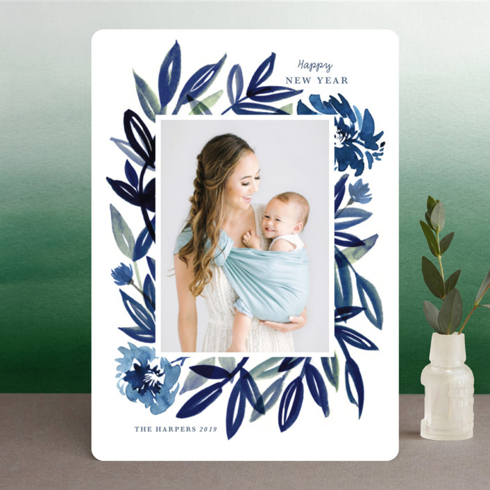 """""""Brush Leaves"""" - New Year Photo Cards in Navy by Morgan Ramberg."""
