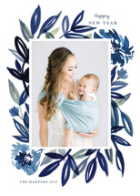 Brush Leaves New Year's Photo Cards By Morgan Ramberg