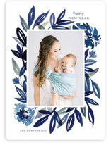 This is a blue new year photo card by Morgan Ramberg called Brush Leaves with standard printing on smooth signature in standard.