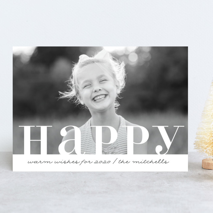 """""""Warm Happy"""" - New Year Photo Cards in Naval Blue by Kate Ross."""
