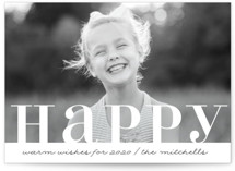 This is a white new year photo card by Kate Ross called Warm Happy with standard printing on smooth signature in standard.