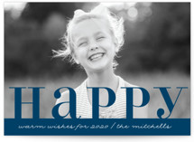 This is a blue new year photo card by Kate Ross called Warm Happy with standard printing on smooth signature in standard.