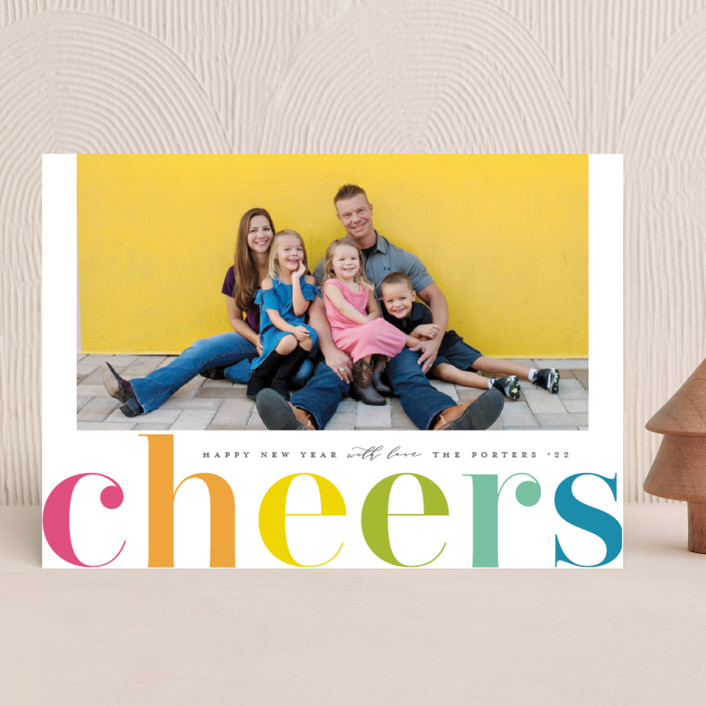 """Cheers in Color"" - New Year Photo Cards in Candy by Michelle Taylor."