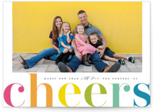 This is a green new year photo card by Michelle Taylor called Cheers in Color with standard printing on smooth signature in standard.