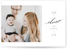 This is a grey new year photo card by Everett Paper Goods called Revista with standard printing on smooth signature in standard.