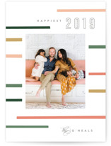 This is a pink new year photo card by Kristie Kern called Mod Stripe with standard printing on smooth signature in standard.