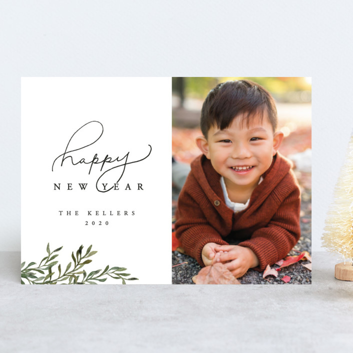 """""""Botanical New Years Card"""" - New Year Photo Cards in Mistletoe by Vivian Kammel."""