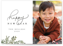 This is a green new year photo card by Vivian Kammel called Botanical New Years Card with standard printing on smooth signature in standard.