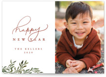This is a red new year photo card by Vivian Kammel called Botanical New Years Card with standard printing on smooth signature in standard.