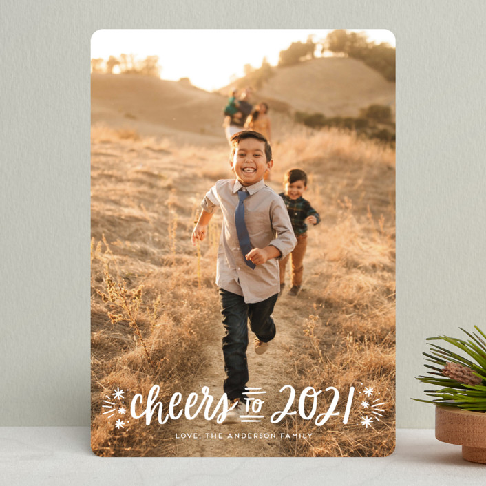 """""""A New Year Cheers"""" - New Year Photo Cards in Snowfall by Little Print Design."""