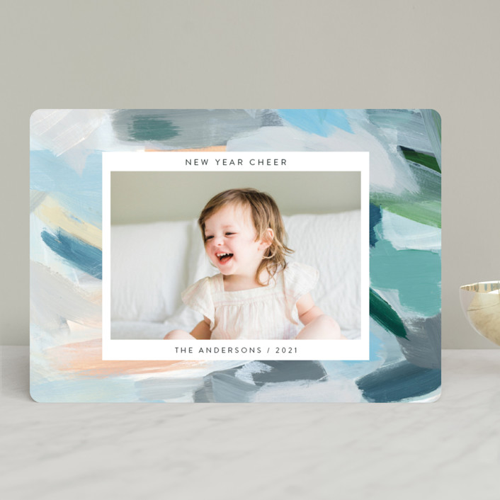 """""""Paint Palette Cheer"""" - New Year Photo Cards in Pastel by Nicole Walsh."""