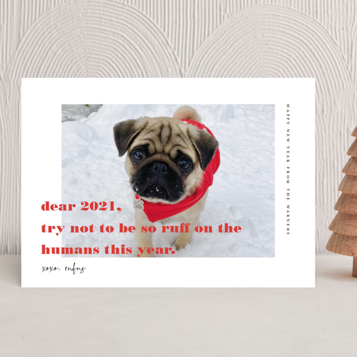 """""""dear 2021"""" - New Year Photo Cards in Cranberry by Frooted Design."""