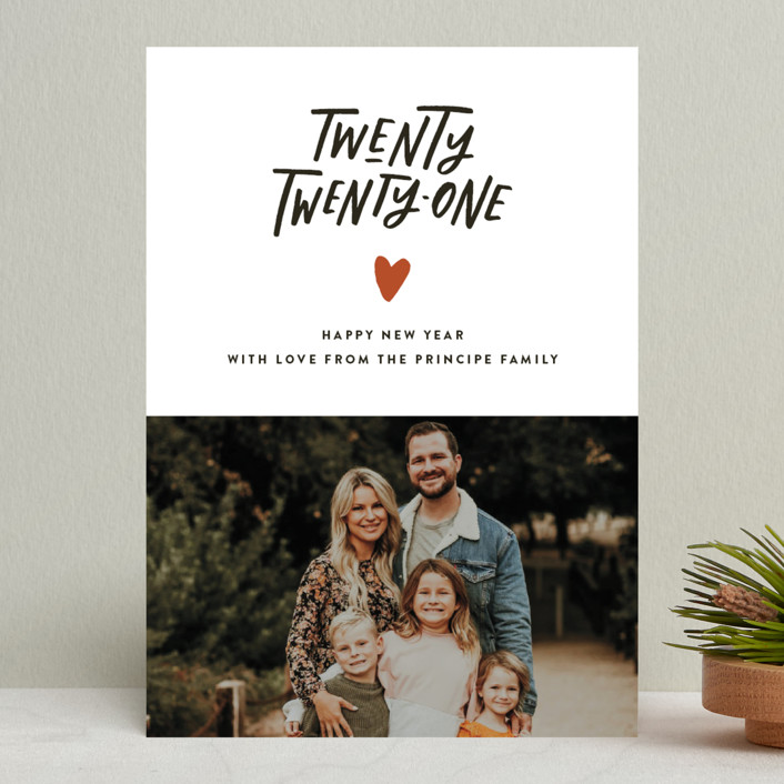 """""""Hand and Heart"""" - New Year Photo Cards in Clementine by Up Up Creative."""