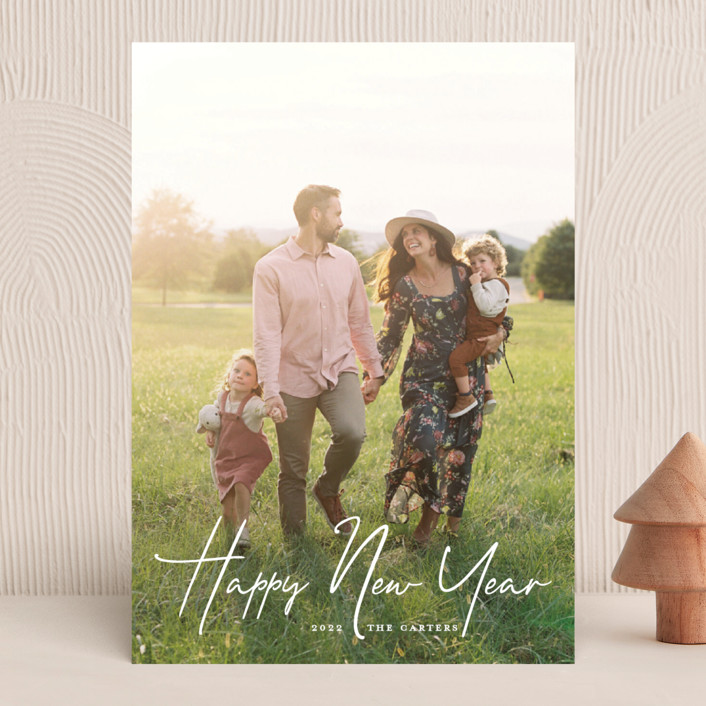 """""""New Year Script"""" - New Year Photo Cards in Snow by GeekInk Design."""
