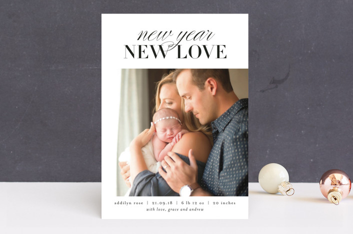 """New Year New Love"" - New Year Photo Cards in Snow by Kelly Schmidt."