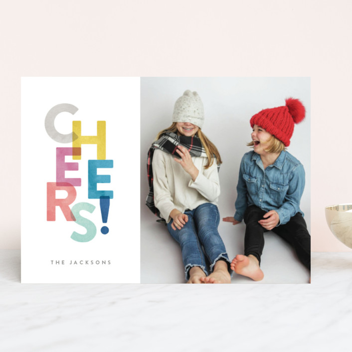 """""""Colorful Cheers"""" - New Year Photo Cards in Rainbow by Hooray Creative."""