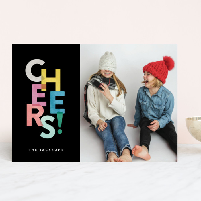 """Colorful Cheers"" - New Year Photo Cards in Onyx by Hooray Creative."