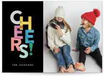 This is a black new year photo card by Hooray Creative called Colorful Cheers with standard printing on smooth signature in standard.