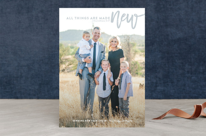 """""""all things are made new"""" - New Year Photo Cards in slate by Guess What Design Studio."""