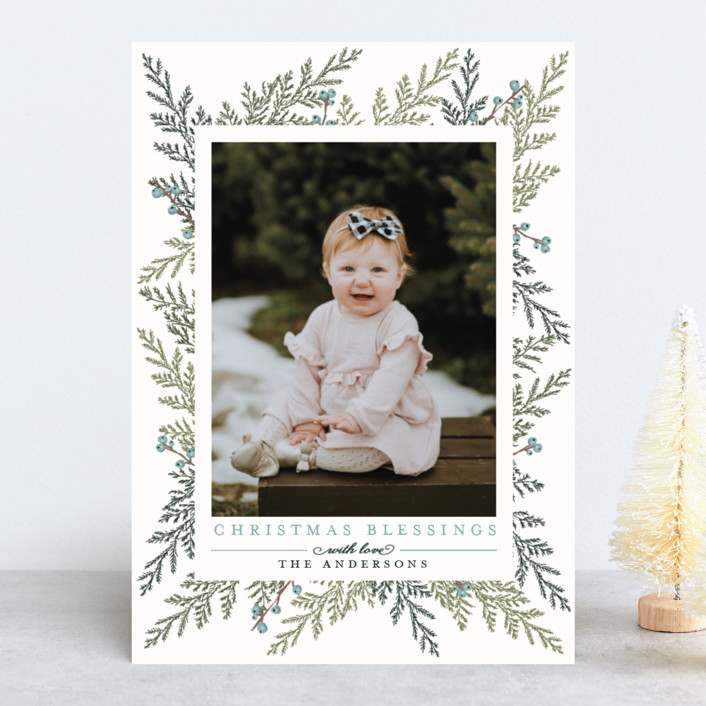 """""""Christmas Blessings"""" - Elegant, Hand Drawn New Year Photo Cards in Crimson by Susan Moyal."""