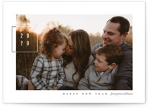 This is a grey new year photo card by Eric Clegg called Modern Twenty with standard printing on smooth signature in standard.