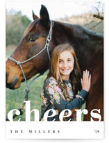 This is a white new year photo card by Playground Prints called Clean & Bold Cheers with standard printing on smooth signature in standard.
