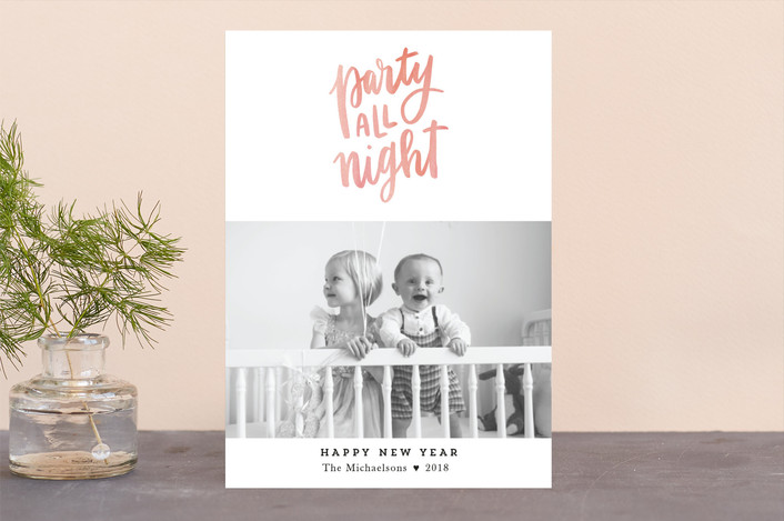 """Party All Night"" - New Year Photo Cards in Pumpkin by Up Up Creative."