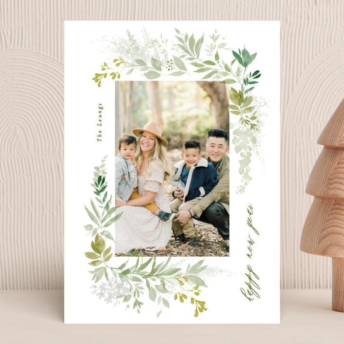 """green wisps"" - New Year Photo Cards in Greenery by Phrosne Ras."