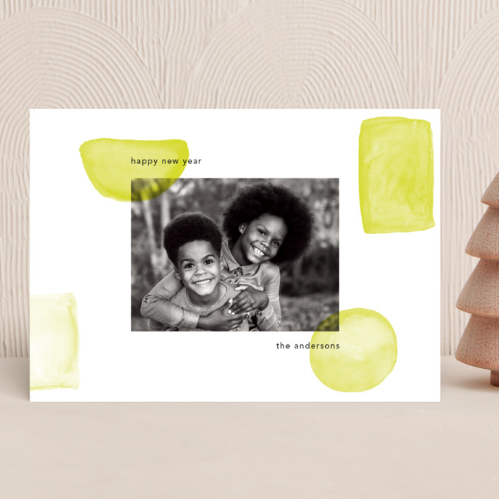 """""""Neon New Year"""" - New Year Photo Cards in Lime by Caitlin Considine."""