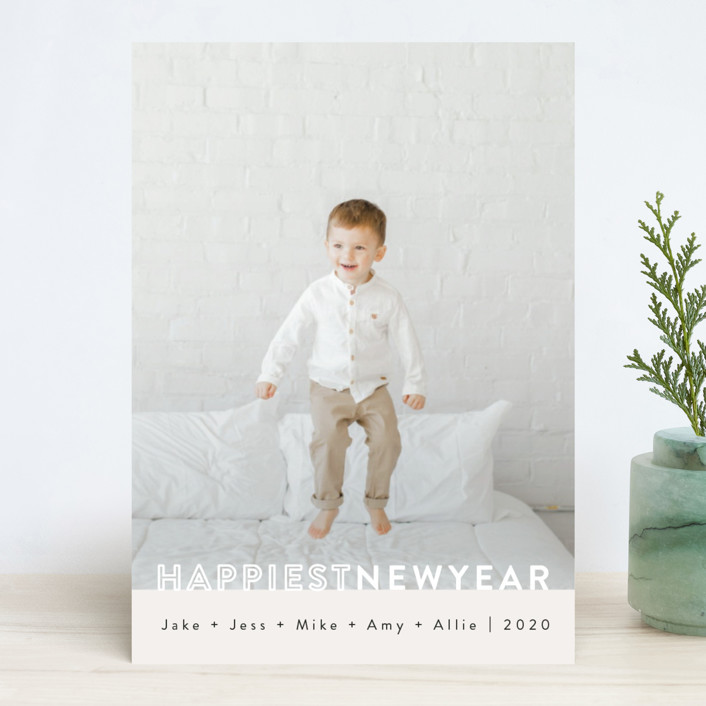 """""""The Happiest"""" - New Year Photo Cards in Ivory by Kasia Labocki."""