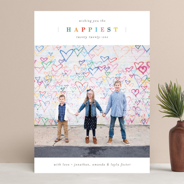 """Happiest Mix"" - New Year Photo Cards in Pine by Michelle Taylor."
